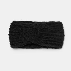 ZARA Black Cable Knit Headband with Knot Detail